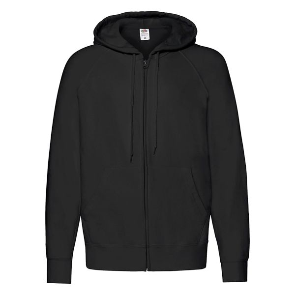 "Толстовка без начеса ""Lightweight Hooded Sweat"",  черный, M, 80% х/б 20% полиэстер, 240 г/м2"